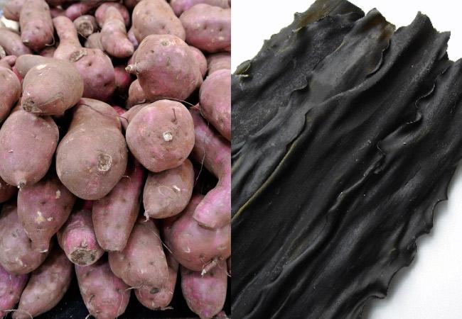 サツマイモと昆布には肌の美容に良い成分がたっぷり