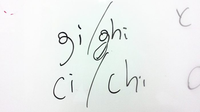 Gi(ギ) ghi(リ)ci(チ) chi(キ)の4つ以外はローマ字読みでOKのイタリア語。